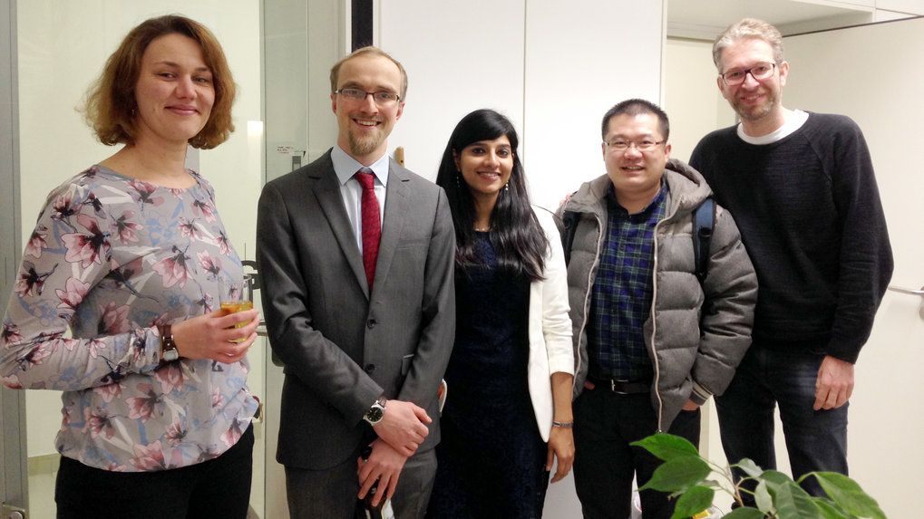 10.02.2017Graduation party with all students of the Siekmann lab who received a PhD so far. From left to right: Eva Kochhan, Wade Sugden, Sana Safatul Hasan, Cong Xu and PI Arndt Siekmann.